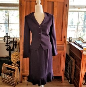 Albert Nipon Modern Classic Purple Skirt Suit Sz 6